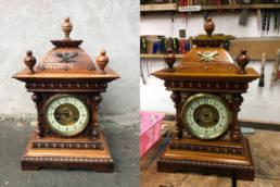 Zegar eklektyczny przed i po renowacji